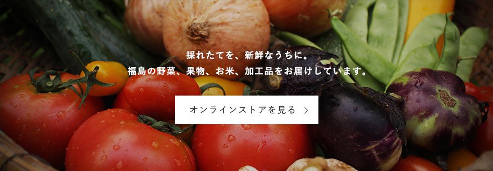 採れたてを、新鮮なうちに。福島の野菜、果物、お米、加工品をお届けしています。オンラインストアを見る
